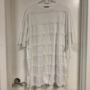 Zara tee-shirt dress with fringed stripes